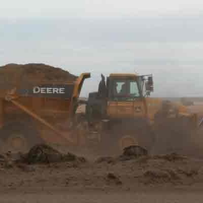 Gravel truck hauling dirt